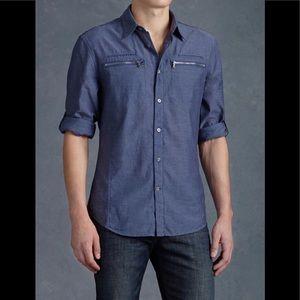EUC JOHN VARVATOS Zippered Pocket Blue Shirt-Sz M